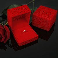 Футляр под кольцо 'Резной куб', 6*6, цвет красный