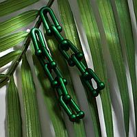 Серьги пластик 'Цепь' фьюче, цвет зелёный
