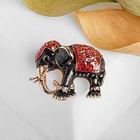Брошь 'Слон индийский', цвет красно-серый в золоте