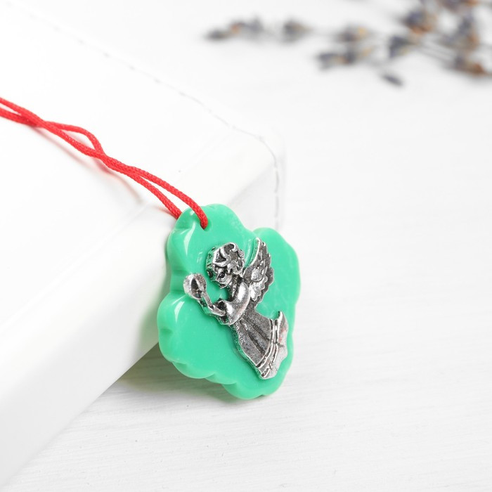 Набор талисманов на крас.нити 'Ангел со свечой' 3 шт., зеленый, серебро, 2,5 х 2,7 см. - фото 2