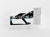 Шкаф для раздевалки с фотопечатью 2-местный, лавочка на металлокаркасе, двери прямые, фото 1