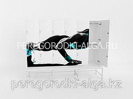 Шкаф для раздевалки с фотопечатью 2-местный, лавочка на металлокаркасе, двери прямые