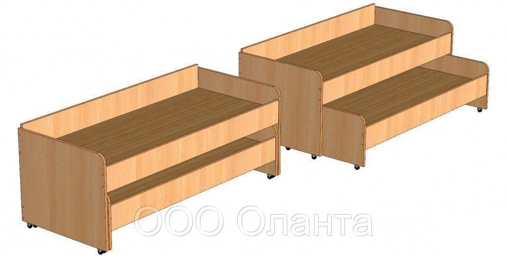 Кровать двухъярусная выкатная для детского сада (1460х640х510) арт. КР3