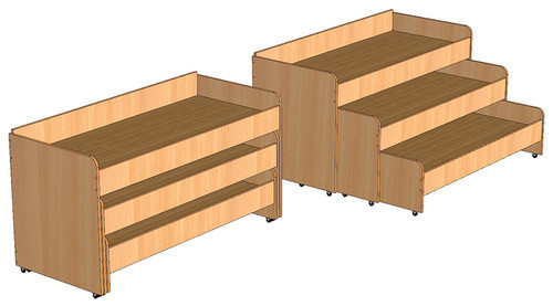 Кровать трехъярусная выкатная для детского сада (1462х640х750) арт. КР4