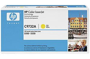 HP C9732A Toner Cartridge Yellow for Color LaserJet 5500/5550, up to 12000 pages.