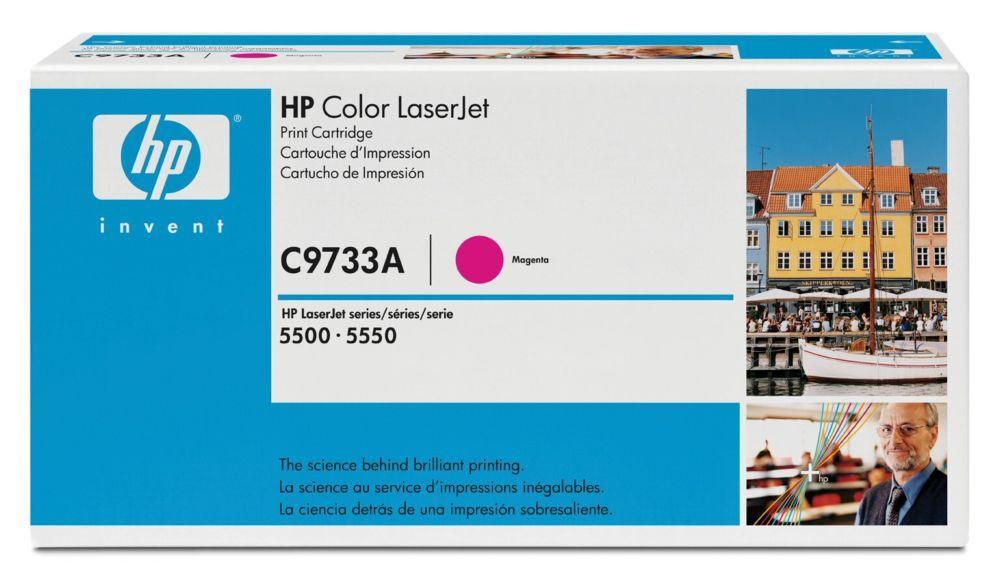 HP C9733A Toner Cartridge Magenta for Color LaserJet 5500/5550, up to 12000 pages.