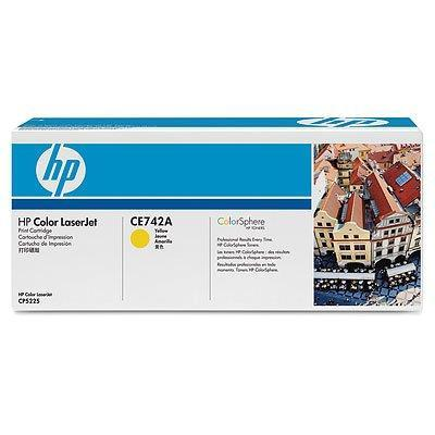 HP CE742A Yellow Print Cartridge for Color LaserJet CP5225, up to 7300 pages.