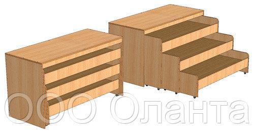 Кровать трехъярусная выкатная с тумбой для детского сада (1512х640х852) арт. КР5