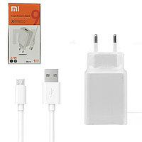 Сетевое зарядное устройство + кабель microUSB Xiaomi, QC, 27W, Copy, White