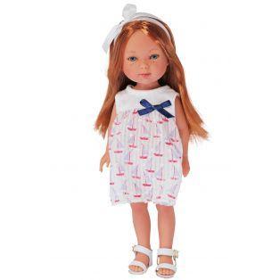 Карлота с рыжыми волосами, в платье с парусниками, с ободком и сандаликах/ 28 см/ (Vestida de Azul, Испания) - фото 1