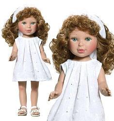 Паулина в белом вышитом платье с кудряшками/34 см/ (Vestida de Azul, Испания)