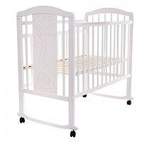 Кровать детская NOLI ЖИРАФИК колесо-качалка Белая PITUSO