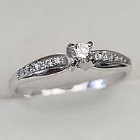 Золотое кольцо с бриллиантами 0.17Сt VS2/I, EX - Cut, фото 1