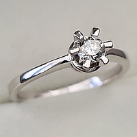 Золотое кольцо с бриллиантами 0.31Сt SI2/I, EX - Cut, фото 1