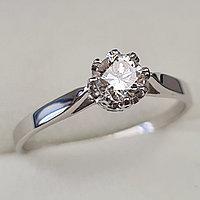 Золотое кольцо с бриллиантами 0.42Сt SI1/I, EX - Cut, фото 1