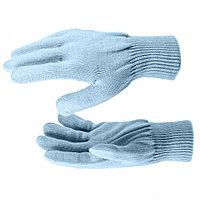 Перчатки трикотажные, акрил, двойные, цвет зенит, двойная манжета Россия Сибртех