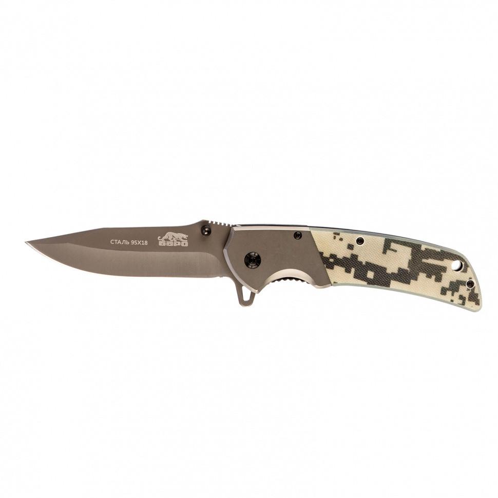 Нож туристический, складной, 220/90 мм, система Liner-Lock, с накладкой G10 на рукоятке Барс - фото 1