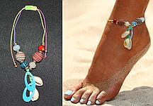 Браслет на ногу с бусинами и ракушками Anklets радужный