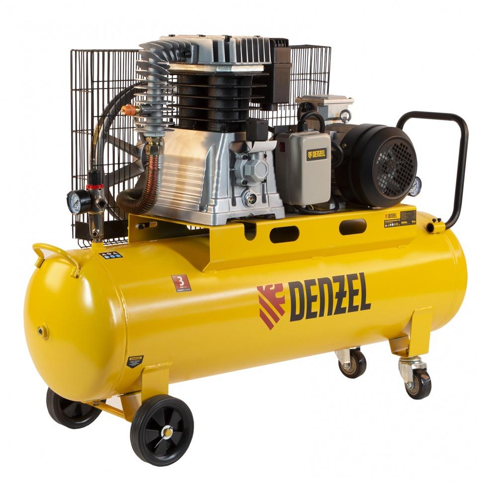 Компрессор воздушный, ременный привод BCI4000-T/100, 4.0 кВт, 100 литров, 690 л/мин Denzel - фото 1