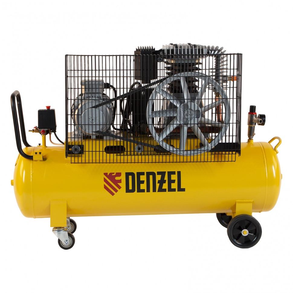 Компрессор воздушный, ременный привод BCI4000-T/100, 4.0 кВт, 100 литров, 690 л/мин Denzel - фото 5