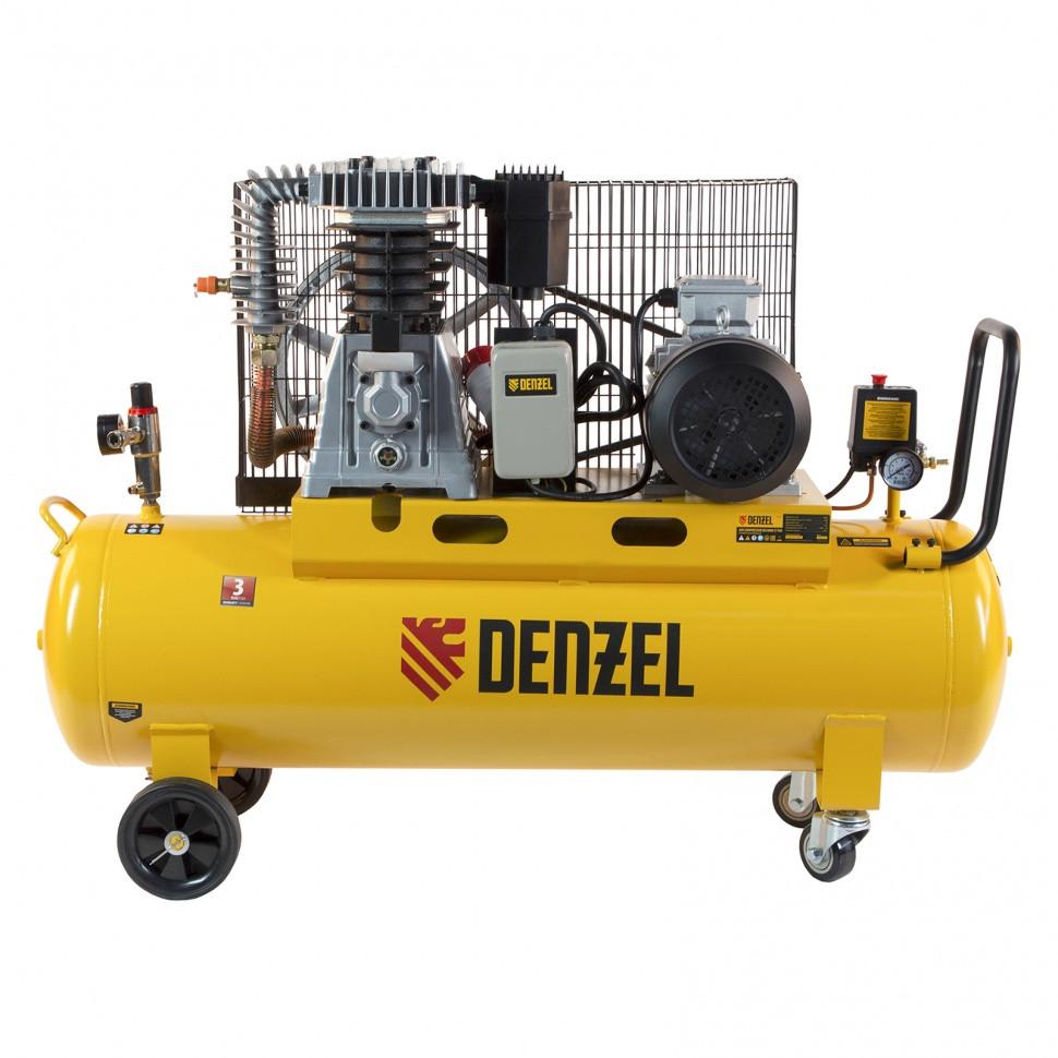 Компрессор воздушный, ременный привод BCI4000-T/100, 4.0 кВт, 100 литров, 690 л/мин Denzel - фото 6