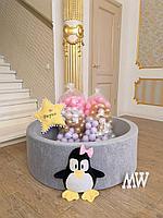 Сухой бассейн 3d с шариками Пингвин девочка