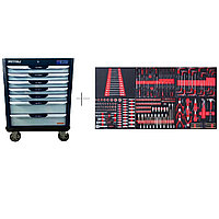 Тележка с 7 ящиками+ПОДАРОК инструмент 250 предметов KraftWell KRW-TTG+SET250