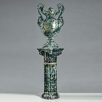 """Ваза напольная """"Паоло"""", на колонне, под малахит, золотистая ветка, 145 см, керамика"""