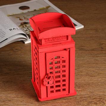 """Копилка деревянная """"Телефонная будка"""", красная, 19 см"""