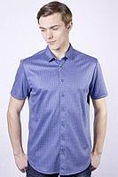 Мужская летняя синяя деловая большого размера рубашка Nadex 950015Т_170 синий 46р.
