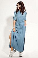 Женское осеннее из вискозы голубое большого размера платье Панда 477680 голубой 50р.