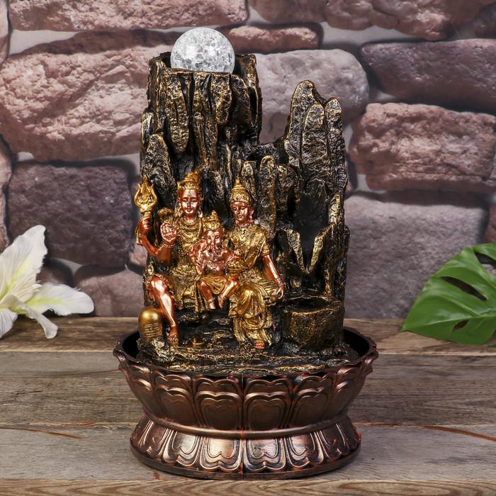 Фонтан настольный от сети, подсветка 'Ганеша, Шива и Парвати' 31х19,5х19,5 см - фото 1
