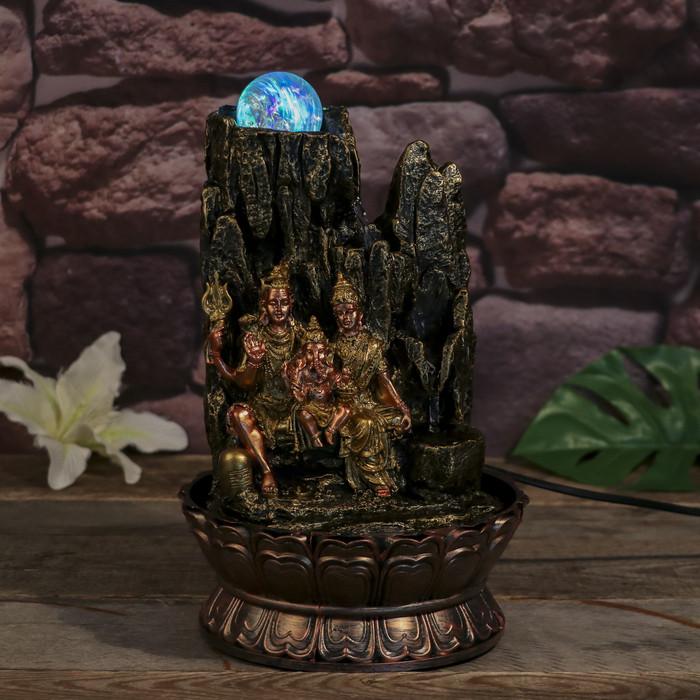 Фонтан настольный от сети, подсветка 'Ганеша, Шива и Парвати' 31х19,5х19,5 см - фото 5