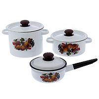 Набор посуды 'Йогурт', 3 предмета кастрюли 2 л, 3,5 л, ковш 1,5 с крышкой, цвет белый