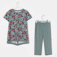 Костюм (комплект) женский (футболка, бриджи), цвет изумруд, размер 48