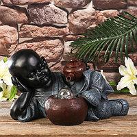 Фонтан настольный полистоун свет 'Маленький Будда и чайная церемония' 21х27х26 см