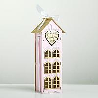 """Коробка деревянная, 13.5×11.5×36.5 см """"С Любовью!"""", подарочная упаковка, розовый"""