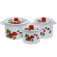 Набор кастрюль 'Летняя ягода', 3 предмета 3,5 л, 5,5 л, 8 л
