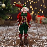 Новогодний шут 'В красно-зелёном костюме с бантиком' 18х30 см