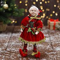 Новогодний шут 'В красном платье и колпачке' 18х30 см