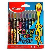Фломастеры 12цв Maped COLOR'PEPS MONSTER смываемые,с заблокир.пишущ.узлом,карт.футляр