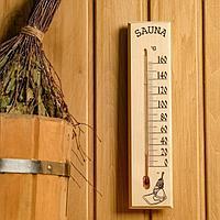 Термометр сувенирный жидкостный для бани и сауны, от 0° до +160°C 30х7х1.5 см