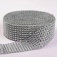 Лента с имитацией страз, 4 см, 9 ± 1 м, цвет серебряный