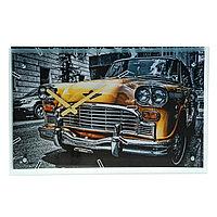 Часы настенные прямоугольные 'Ретро авто', стекло, 35х60 см