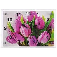 Часы настенные, серия Цветы, 'Тюльпаны', 25х35 см, микс