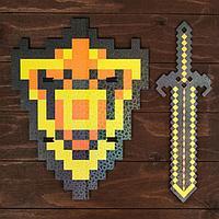 Набор деревянных сувениров 'Золотое оружие' щит, меч