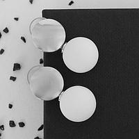 Серьги ассорти 'Снежок' диск, цвет белый в серебре