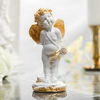 Статуэтка 'Амур' цвет белый, с золотистым декором, 17 см
