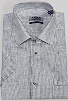 Мужская летняя льняная деловая большого размера рубашка Nadex 01-048223/310_182 сине-коричневый 52р.