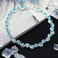 Браслет со стразами 'Лёд' ручей, цвет голубой в серебре, 18см
